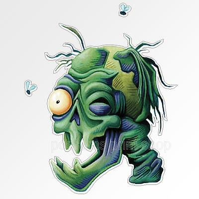 Funny car bumper sticker Zombie skull green undead apocalyse decal 80x95mm