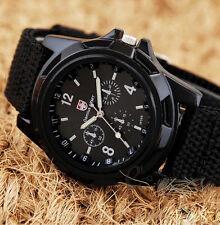 Mens Sport Watch Canvas Analog Quartz Waterproof Fahion Military Watches Black