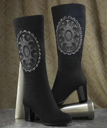 NEW WOMENS BLACK MIDNIGHT VELVET WOOL APPLIQUED BOOTS SIZE 9.5 M