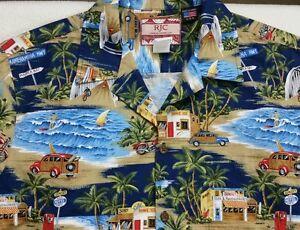 RJC-Mens-Hawaiian-Scenery-Surf-Waves-Cars-Camp-100-Cotton-Shirt-Size-Large