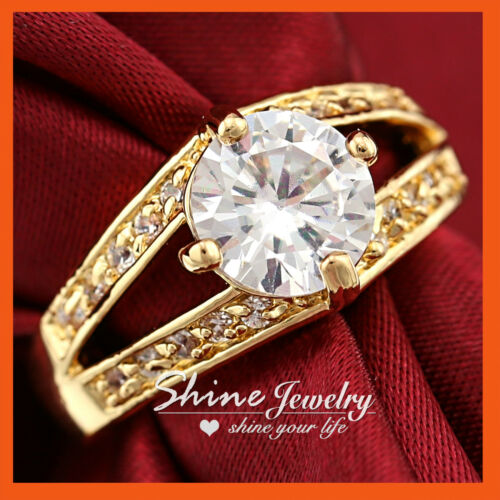 18K GOLD GF 4CT SOLITAIRE DIAMOND LAB WOMENS COCKTAIL ETERNITY WEDDING BAND RING