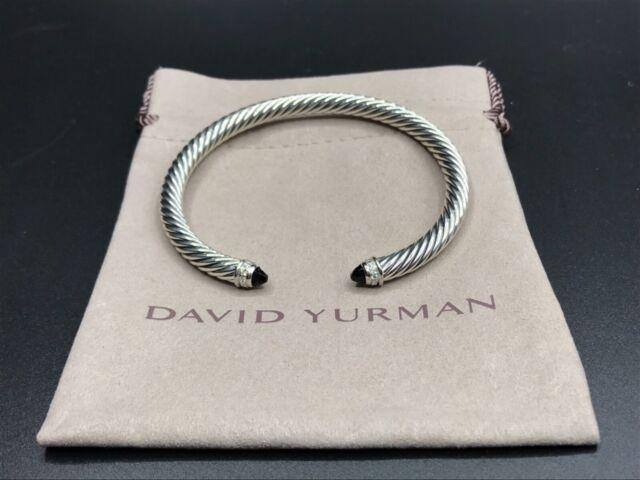 3af122739000 DAVID YURMAN 5mm Cable Classics Cuff Bracelet With Black Onyx & Diamonds  Size M