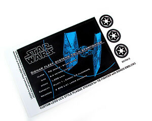 CUSTOM UCS STYLE PLAQUE DIE CUT STICKERS For STAR WARS TIE - Star wars custom die cut stickers