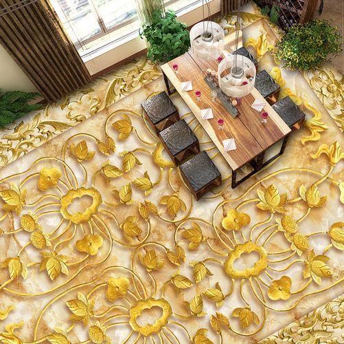 3D Gold Carving Flower Floor WallPaper Murals Wall Print Decal 5D AJ WALLPAPER