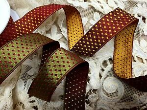 """Vintage Ribbon 1"""" Rayon Reversible Rayon wire edge Polka Dot 1yd Made in France"""
