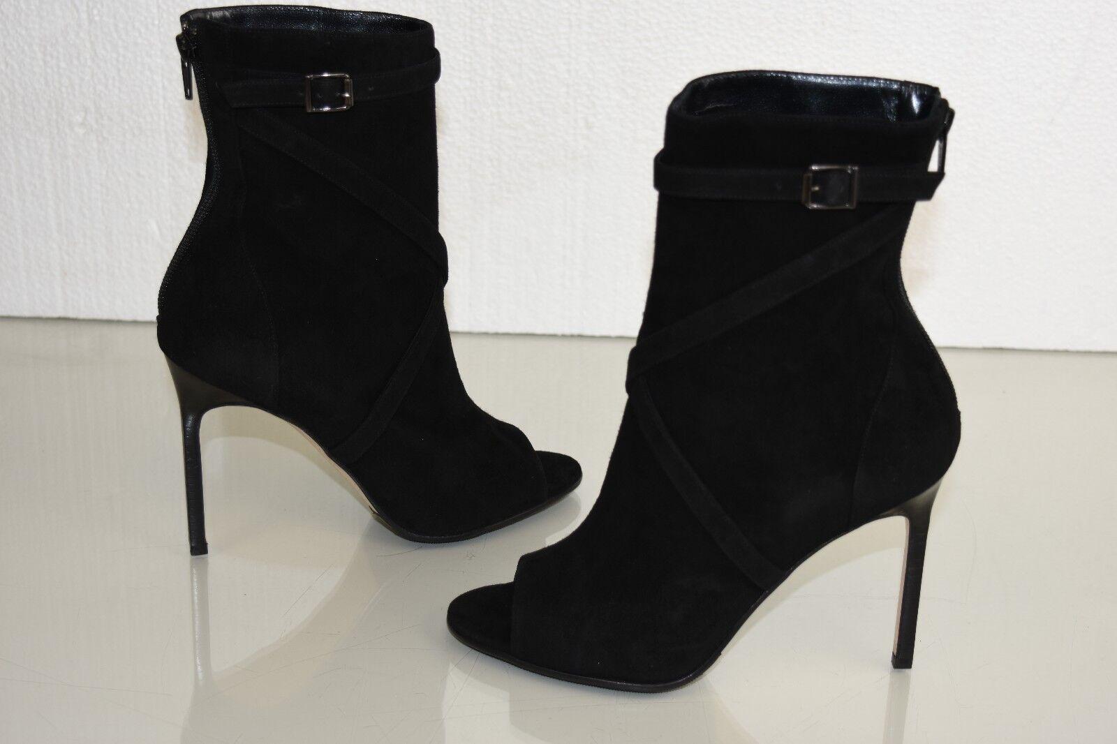 Nueva Manolo Blahnik M-Basella 105 botas Zapatos De Gamuza Botín Negro 37 40 41.5