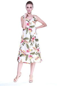 Details about Plus Size Dress Melani Tropical Luau Dress Cruise Hawaiian  Orchid Cream Tie