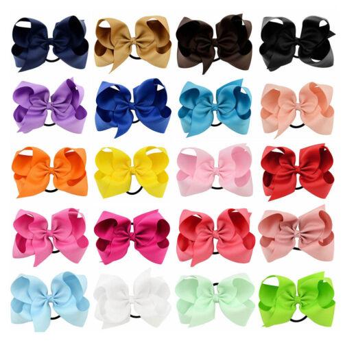20pcs//lot 6 Inch Girls Hair Bows Elastic Hair Bands Ribbon Cheer Bows Headwear