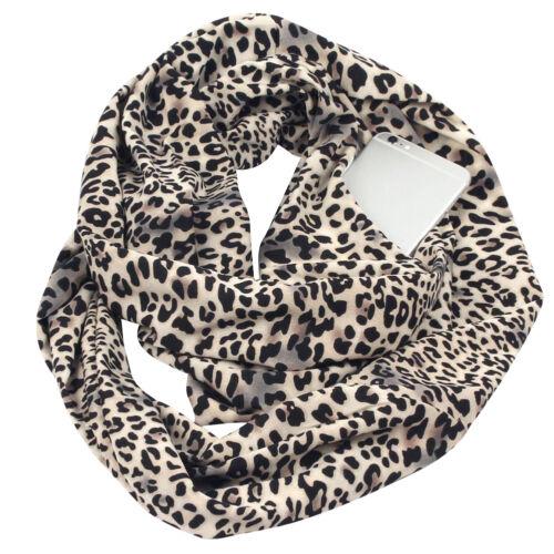Damen Blumen Schal Mit Reißverschluss Tasche Unendlich flexible schnalle DE