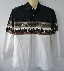Stars-amp-Stripes-Westernhemd-L-XL-Boulder-Country-Pferde-Cowboy-Reiten