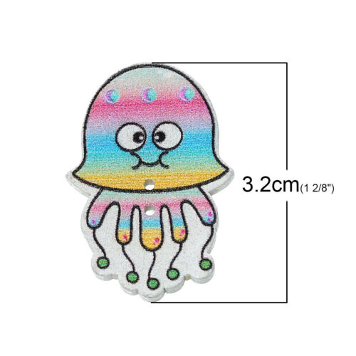 10 Wood Novelty Mixed Design Octopus Sewing Craft Buttons 3.2cm Free P/&P