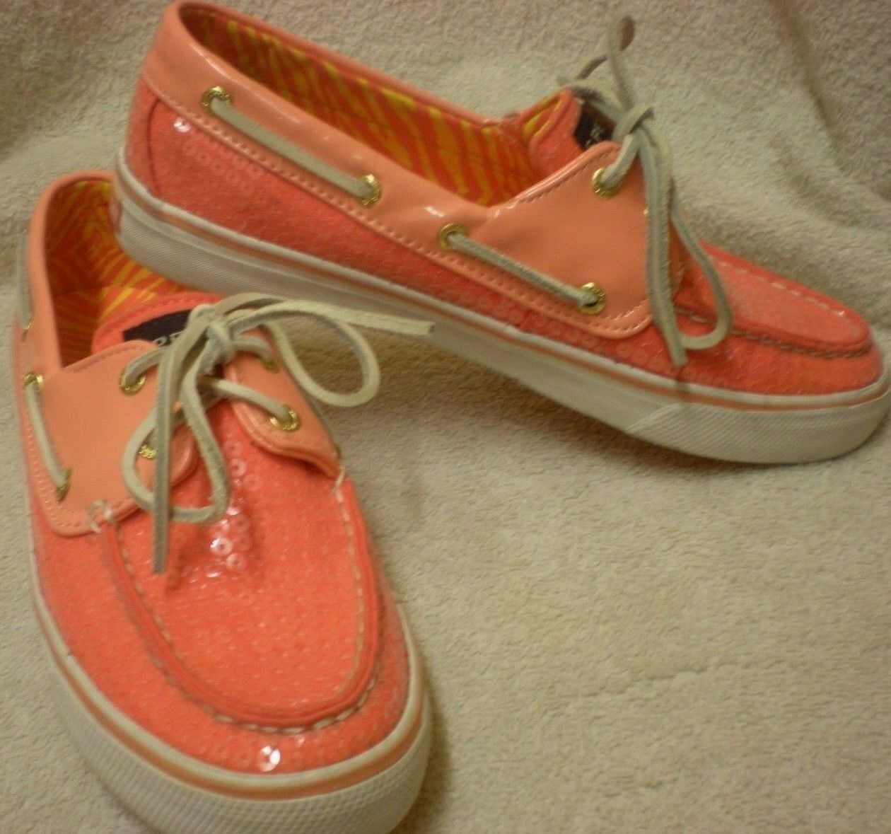 SPERRY Top-Sider Women's Peach Pink Sequins Top Boat shoes Size 7M   9447426