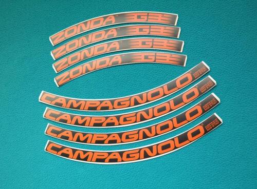 CAMPAGNOLO ZONDA G3 BLACK /& ORANGE REPLACEMENT RIM DECAL SET  FOR 2 RIMS