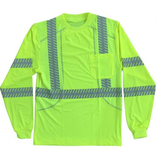 (3 Pair) Class 3 Hi-Viz Lime Comfort Stretch Work hemds Reflective Long Sleeve