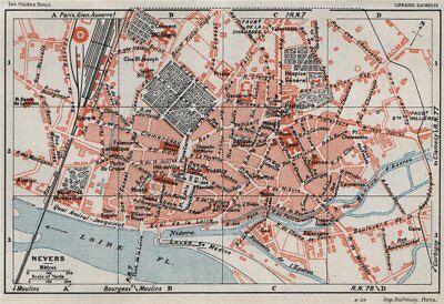 2019 New Style Nevers. Vintage Town City Ville Map Plan Carte. Nièvre Nievre 1930 Old