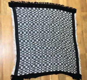 """ECHO Vintage Rayon Black & White """"Checks"""" Square ~ 35x35"""