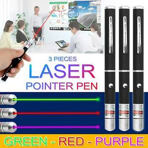 3 Pcs Laser Pen Green + Purple + Red High Beam Powerful Pointer 3 Color Units