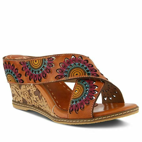 Spring Step L'artiste Enticing Strap Leather Sandals Camel Multi