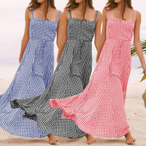 Plus-Size-Womens-Sleeveless-Cami-Maxi-Ladies-Plaid-Check-Summer-Beach-Long-Dress