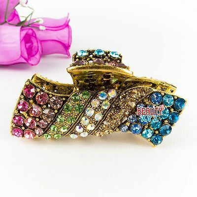 New multi color Austrian Crystal Metal Alloy Hair Claw Clip in Rectangular Shape