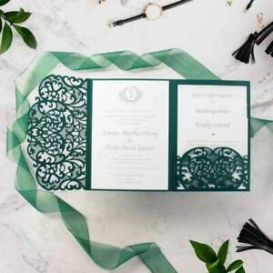 Kit Partecipazioni Matrimonio.Partecipazioni Di Matrimonio Verde Pocket Folder Fai De Te Kit