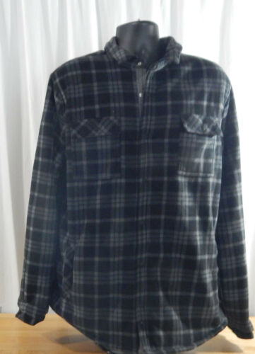 USED Men/'s Voyager Sherpa Lined Snap-up Flannel Shirt//Jacket w//Pockets