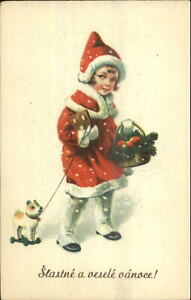 Foreign-Christmas-Little-Girl-in-Red-Coat-Cookie-Pull-Toy-Dog-Postcard