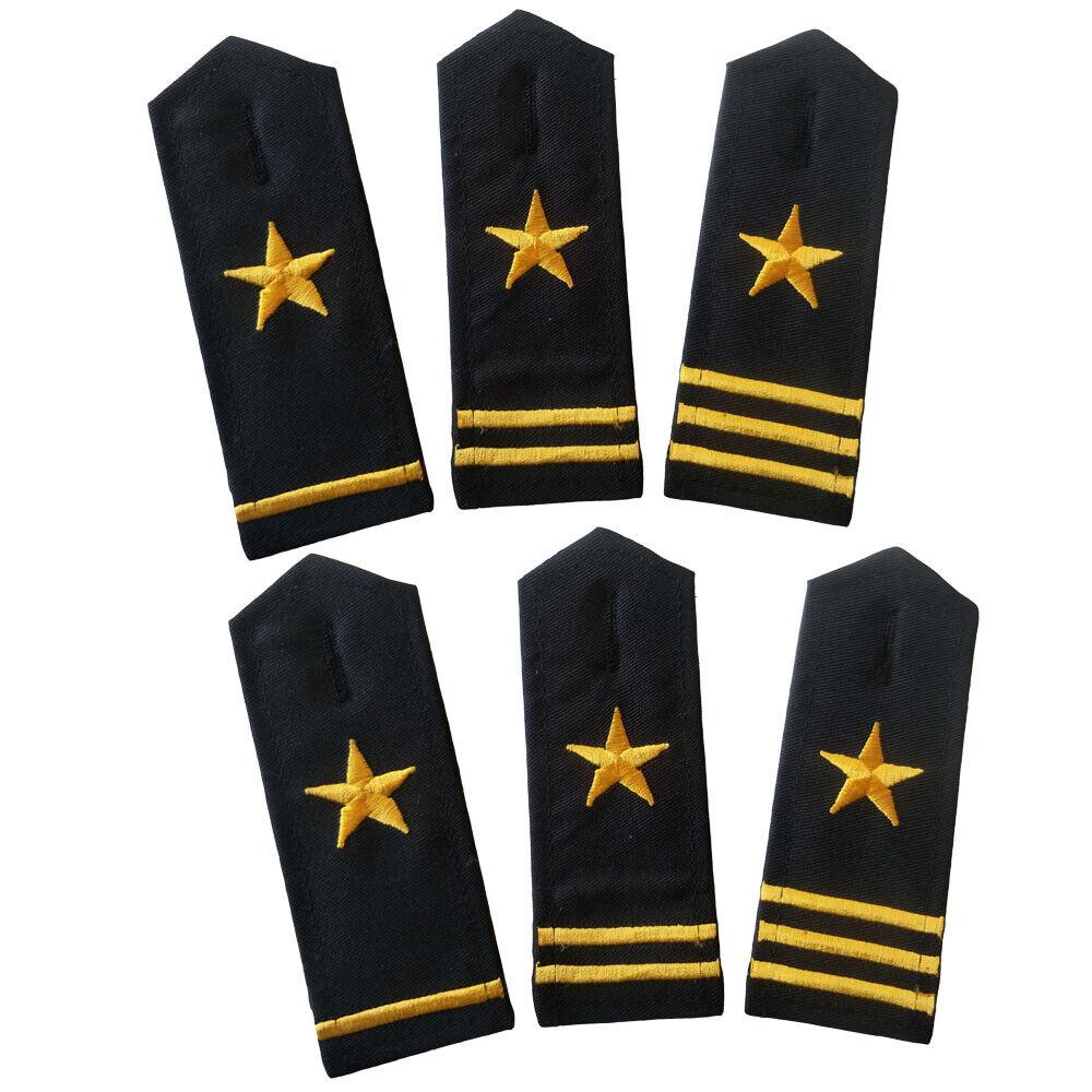 Pair of Star General Rank Epaulets Shoulder Boards Uniform Epaulettes Navy Cloth