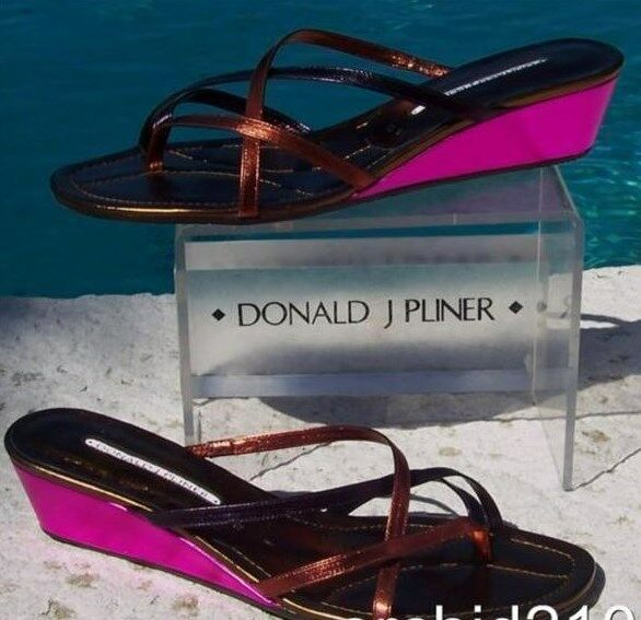 Donald Pliner Couture Metallic Leather Wedge schuhe New 12 Strapy Thong  260 NIB