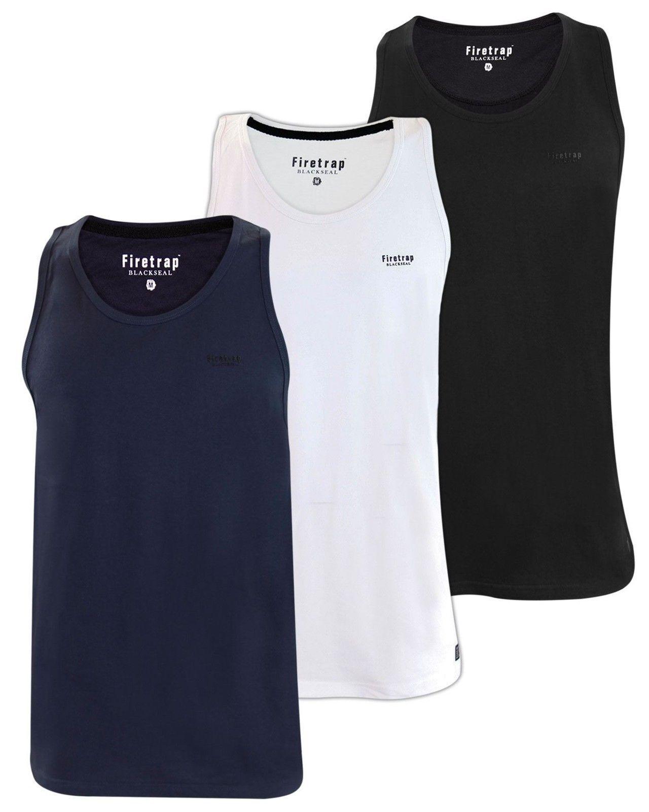 Firetrap Mens Sport Vest Cotton tank Summer Sleeveless Running Training Gym Top