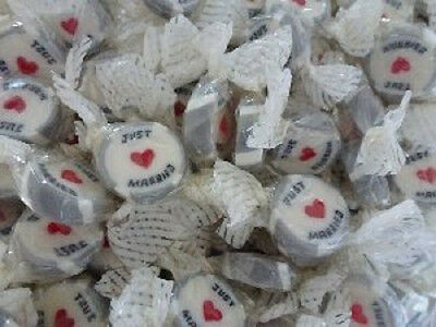 SILVER WEDDING ROCK SWEETS JUST MARRIED FAVOURS WRAPPED