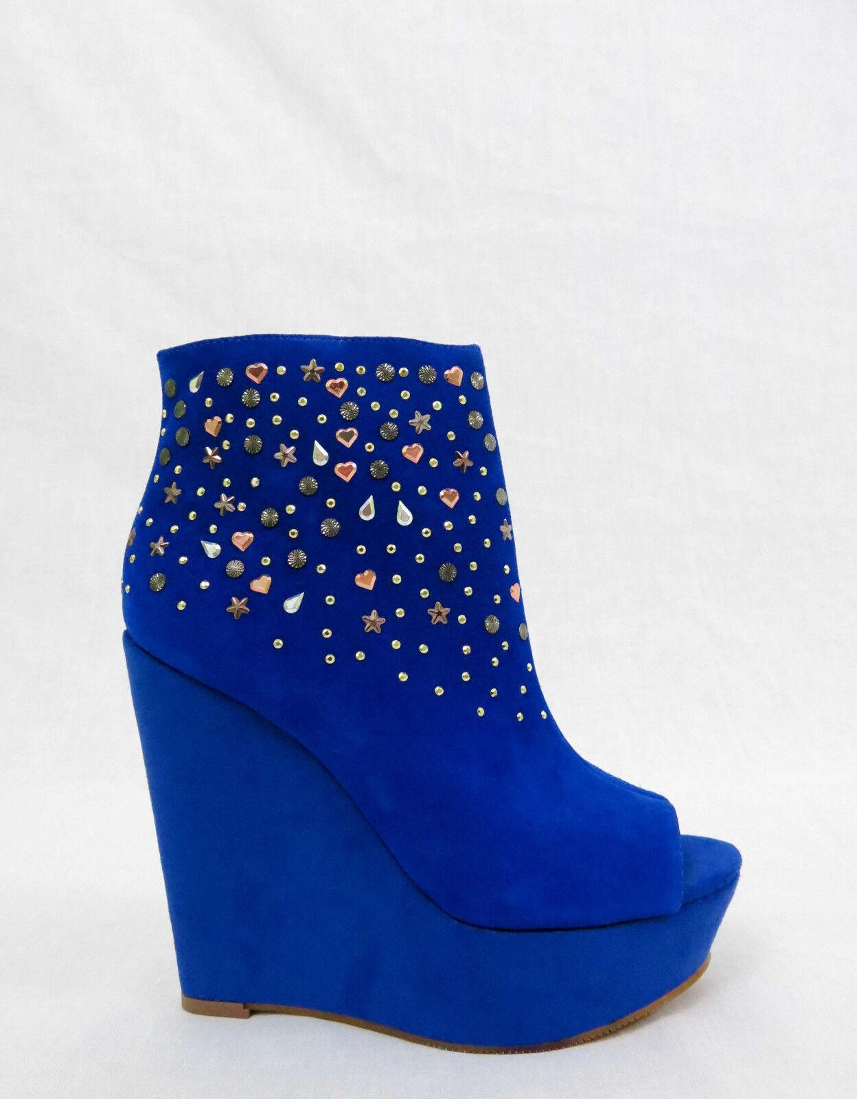 RACHEL ROY Suanna Platform Wedge Ankle Booties Peep Toe Studs Suede bluee 6