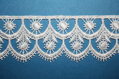 "Stunning White Guipure Lace Trim 2"" Trimming Baby Costume Cards Bride Cards Gift"