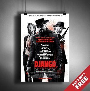 Django Unchained 2012 Movie Poster A3 A4 Quentin Tarantino Western Film Print Ebay