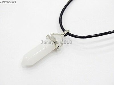 Natural Gemstones Hexagonal Pointed Reiki Chakra Pendant Real Leather Necklace