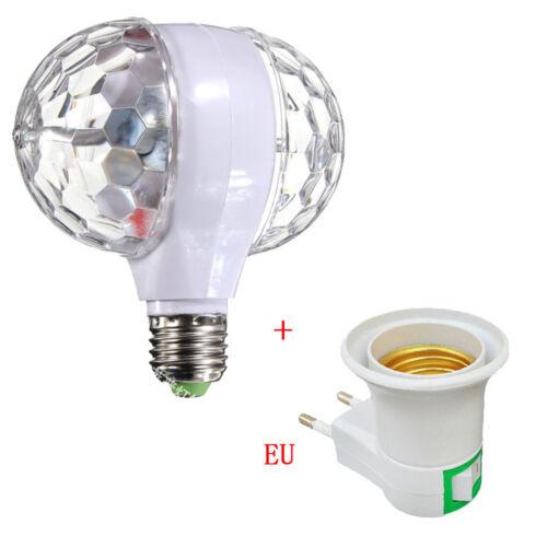 Bulb Rotating Party Xmas 2-Head E27 LED Lights Crystal Ball Disco Stage RGB Lamp