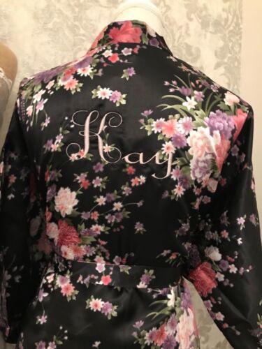 In raso ricamato personalizzata vintage floreale Vestaglia Accappatoio qualsiasi nome regalo