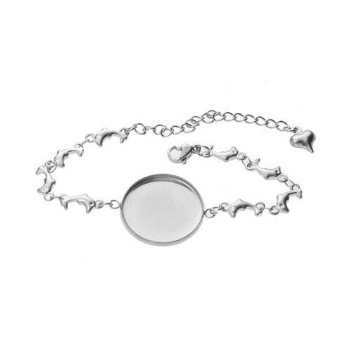 1PC 20mm Bracelet Bottom Cabochon Blank Base Tray Setting DIY Making Accessories