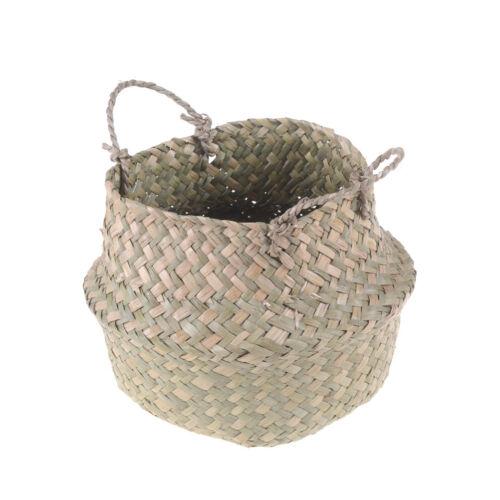 Basket Rattan Folding Wicker Handle Round Natural Sea Grass Plant Storage Wood-C