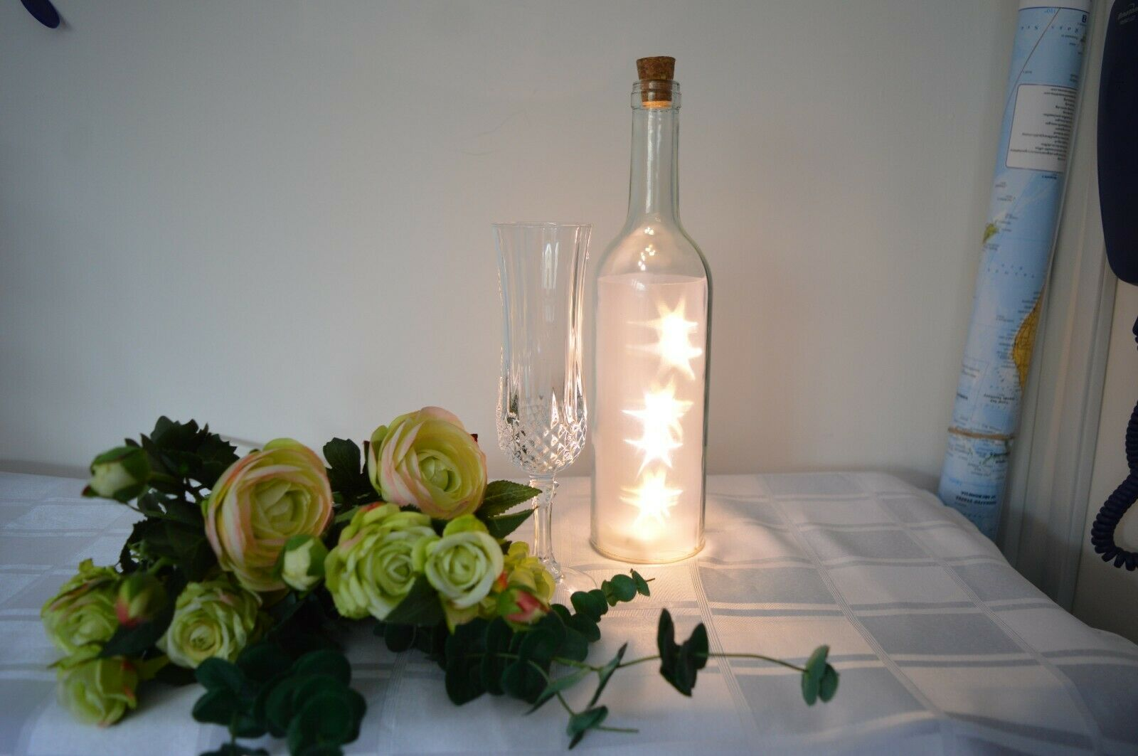 LED Light Decorative Glass Bottle Coloured Star Effect Battery - Wedding, Bar