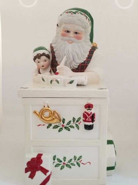 Lenox Santa WorkBench Cookie Jar Christmas Santa's Holiday Toy Shop