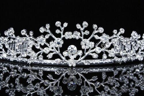 Floral Bridal Headpiece Crystal Rhinestone Prom Wedding Tiara V683