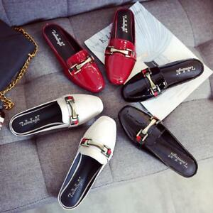 Womens-Patent-Leather-Backless-Casual-Shoes-Metal-Slippers-Flats-Mules-Loafers