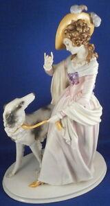 Vintage-Rosenthal-Porcelain-Lady-with-Borzoi-Dog-Figurine-Figure-Porzellan-Figur