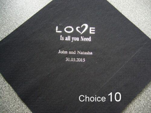 100 Personnalisé Mariage Serviettes Design 10 /& 6 Imprimé Couleurs Choix