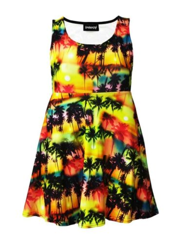 Girls LA Beach Colourful Exotic Palm Trees Sunset Skater Dress Size 5-10 Years