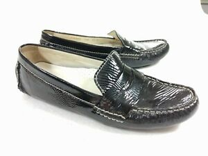 Cole-Haan-Women-039-s-Black-Patent-Leather-Rodeo-Penny-Loafer-Driving-Shoes-Sz-7-5-B