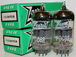 NOS-Zaerix-PCC88-7DJ8-tubes-Matched-Pair-Brand-new-in-boxes