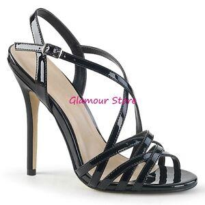 Sexy SANDALI CRISS CROSS tacco 13 dal 35 al 44 NERO LUCIDO scarpe GLAMOUR