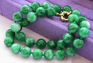 """10 mm Verde Jade jadeíta natural Preciosa Collar Redondo 18/"""""""